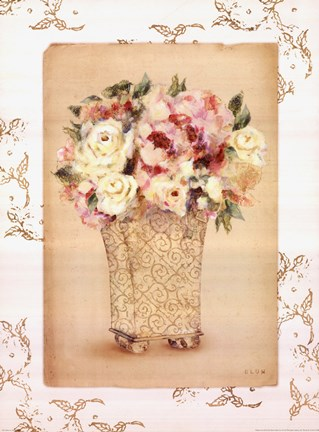 Framed Roses in Painted Vase II Print