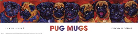 Framed Pug Mugs Print