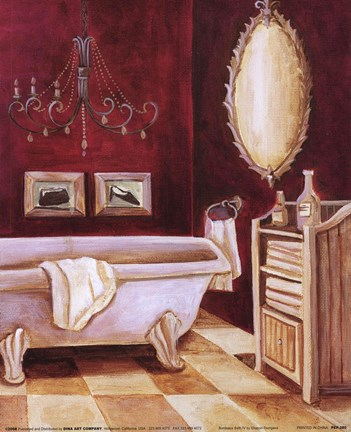 Framed Bordeaux Bath IV Print