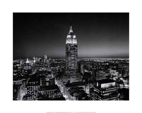 Framed Empire State Building at Night Print
