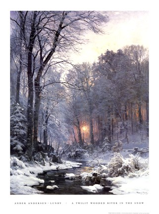 Framed Twilit Wooded River in the Snow Print