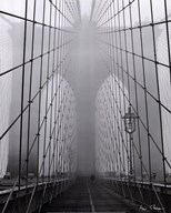 Foggy Day on Brooklyn Bridge Art