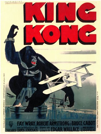 Framed King Kong on top of Empire State Building Print