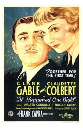 Framed It Happened One Night Gable And Colbert Print