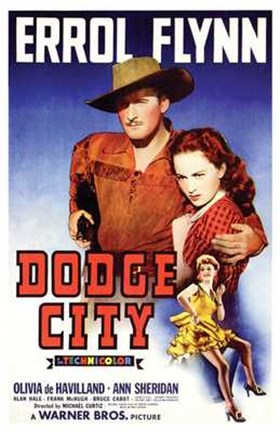 Framed Dodge City Flynn And Olivia De Havilland Print