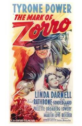 Framed Mark of Zorro Tyrone Power Print
