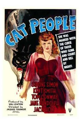 Framed Cat People Red Dress Print