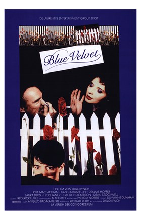 Framed Blue Velvet White Picket Fence Print