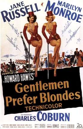 Framed Gentlemen Prefer Blondes, c.1953 - style B Print