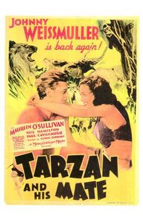 Framed Tarzan and His Mate, c.1934 - style B Print