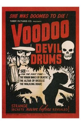 Framed Voodoo Devil Drums Print