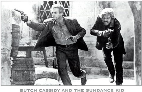 Framed Butch Cassidy and the Sundance Kid B&W Screen Shot Print