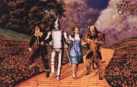 Framed Wizard of Oz - Skipping on Yellow Brick Road Print
