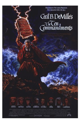 Framed Ten Commandments Cail B. DeMilles Print