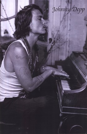 Framed Johnny Depp Playing Piano Print