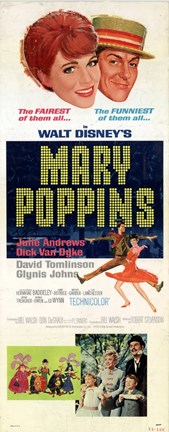 Framed Mary Poppins Tall Broadway Print