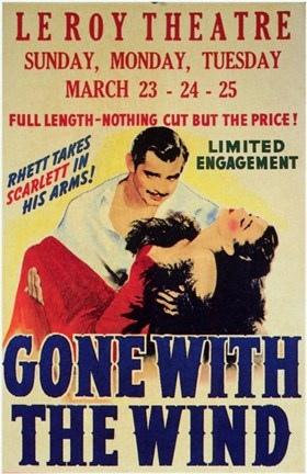 Framed Gone with the Wind Vintage Theater Advertisement White Print