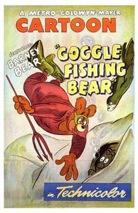 Framed Goggle Fishing Bear Print