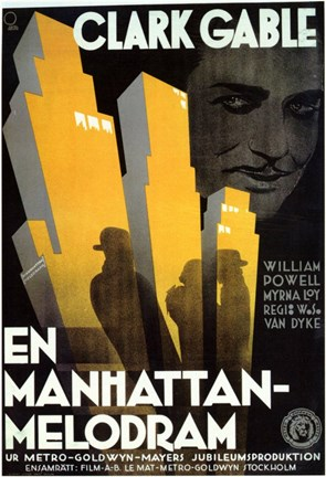 Framed Manhattan Melodrama Art Deco Print