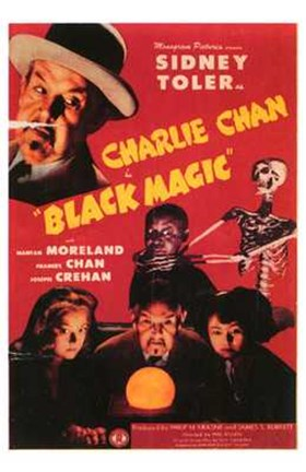 Framed Charlie Chan in Black Magic Print