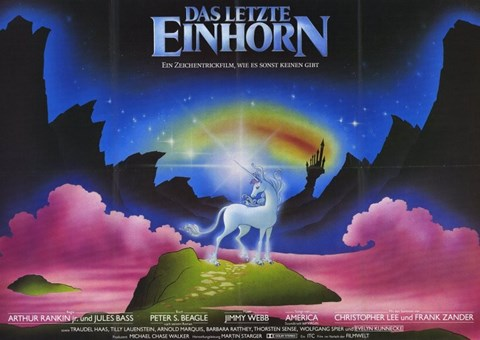 Framed Last Unicorn - German with Rainbow Print