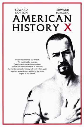 Framed American History X Black White Red Print
