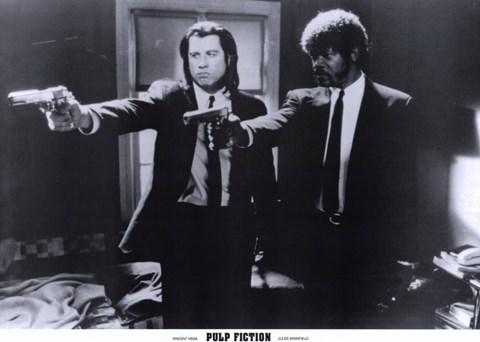 Framed Pulp Fiction Shooting Black and White Print