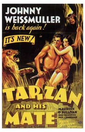 Framed Tarzan and His Mate, c.1934 - style C Print