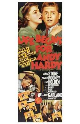 Framed Life Begins for Andy Hardy: Garland And Rooney Print