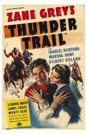 Framed Thunder Trail By Zane Grey Print