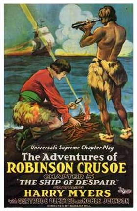 Framed Adventures of Robinson Crusoe Cartoon Print