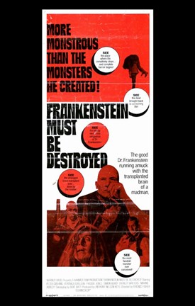 Framed Frankenstein Must Be Destroyed Monstrous Print