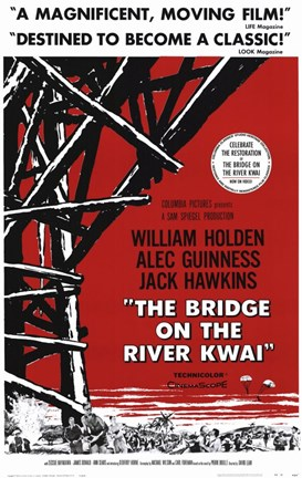 Framed Bridge on the River Kwai Black Red & White Print