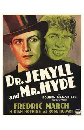 Framed Dr Jekyll and Mr Hyde March Hopkins Print