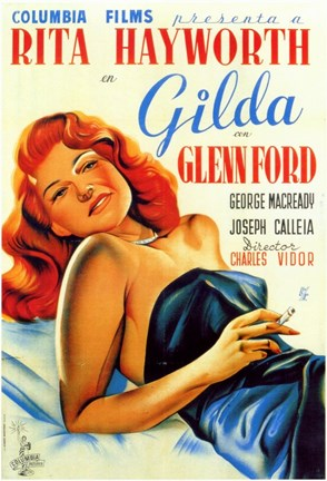 Framed Gilda Rita Hayworth Glenn Ford Print