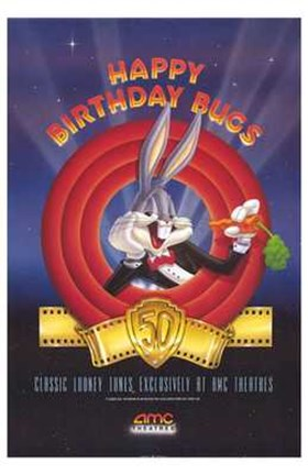Framed Amc Theatres Bugs Bunny's 50Th Print