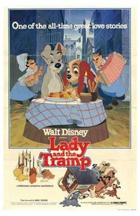 Framed Lady and the Tramp Great All-time Love Story Print