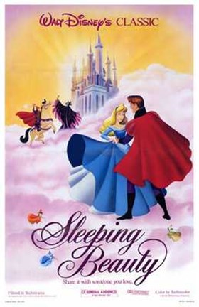 Framed Sleeping Beauty Dancing on Clouds with Prince Charming Print