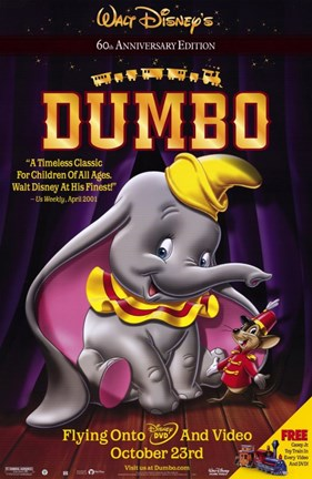 Framed Dumbo with Mouse Print