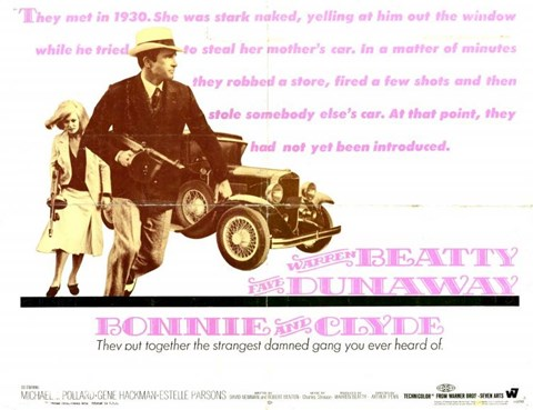 Framed Bonnie and Clyde Pink Print