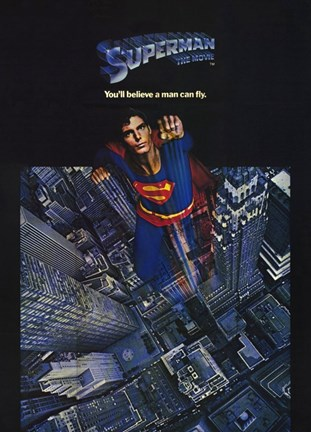 Framed Superman: The Movie Taking Off Print