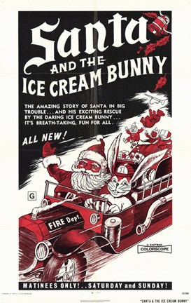 Framed Santa and the Ice Cream Bunny Print