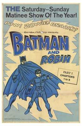Framed Batman and Robin Vintage Print