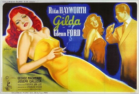 Framed Gilda Glenn Ford & Rita Hayworth Print