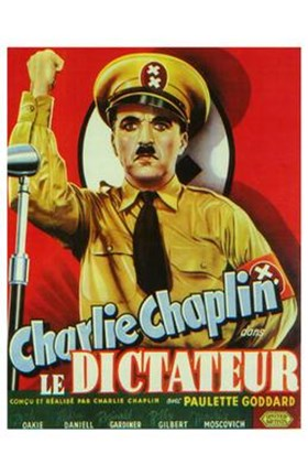Framed Great Dictator - man holding up his fist Print