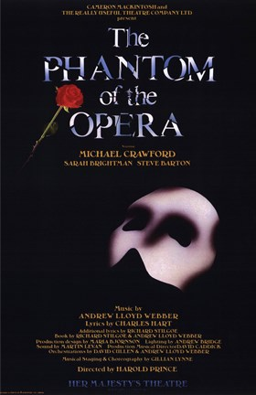 Framed Phantom of the Opera Broadway Musical Print