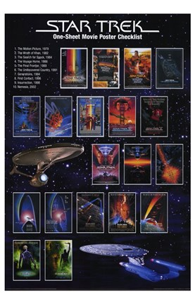 Framed Star Trek: One-Sheet Movie Poster Checklist Print