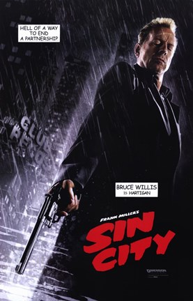 Framed Sin City Bruce Willis as Hartigan Print