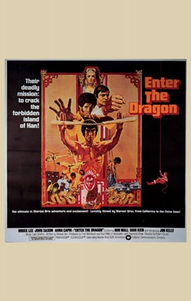 Framed Enter the Dragon Tan Border Print