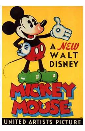Framed New Walt Disney Mickey Mouse in Yellow Print